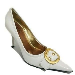 Luichiny White Patent Leather Pumps w/ Gold Buckle